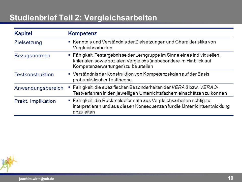 Studienbrief Teil 2: Vergleichsarbeiten joachim.wirth@rub.de 10 KapitelKompetenz Zielsetzung Kenntnis und Verständnis der Zielsetzungen und Charakteri