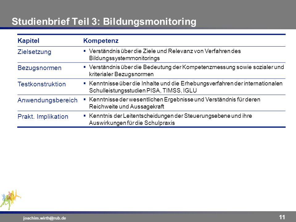 Studienbrief Teil 3: Bildungsmonitoring joachim.wirth@rub.de 11 KapitelKompetenz Zielsetzung Verständnis über die Ziele und Relevanz von Verfahren des