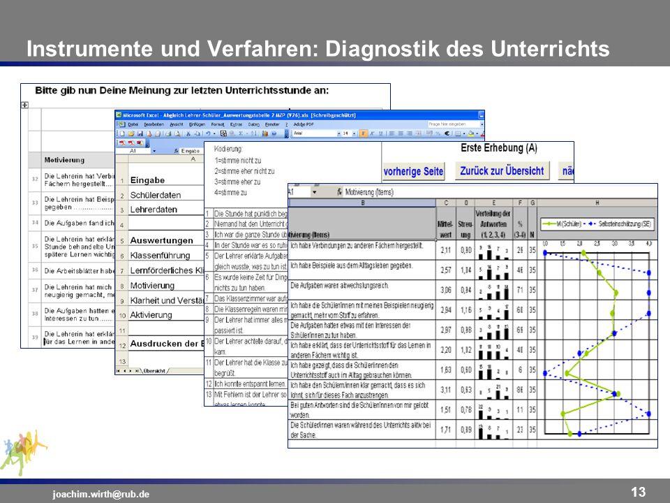 Instrumente und Verfahren: Diagnostik des Unterrichts joachim.wirth@rub.de 13