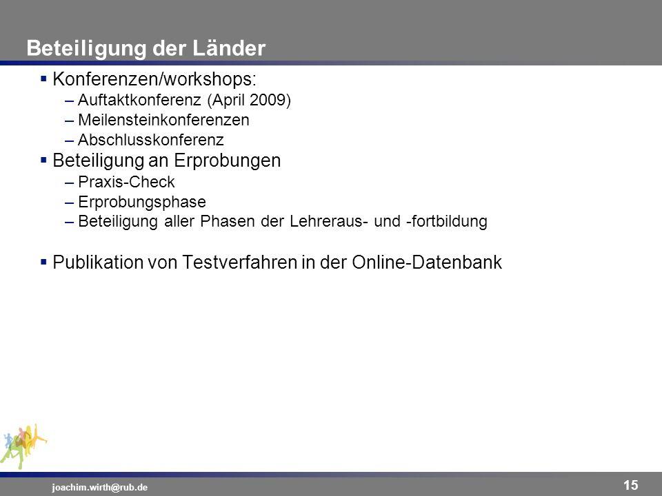 Beteiligung der Länder joachim.wirth@rub.de 15 Konferenzen/workshops: –Auftaktkonferenz (April 2009) –Meilensteinkonferenzen –Abschlusskonferenz Betei