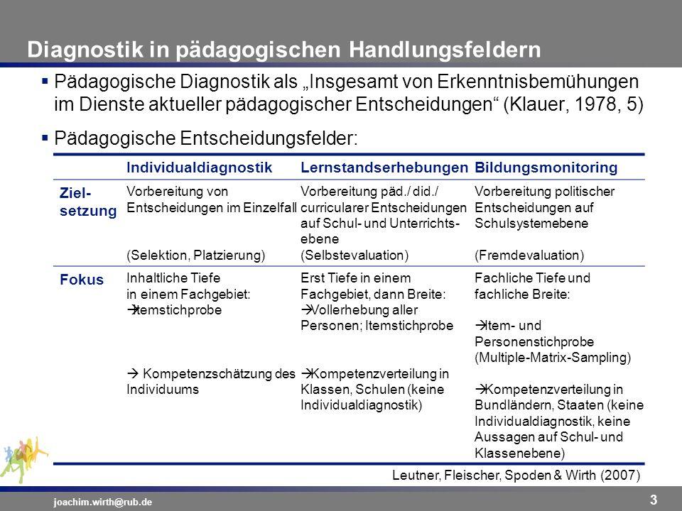 Diagnosefähigkeit von Lehrkräften joachim.wirth@rub.de 4 Fähigkeit zur Diagnose von/Nutzung diagnostischer Informationen über –Lernvoraussetzungen –Lernergebnissen –Lern- und Unterrichtsprozesse als Voraussetzung für –Umgang mit Heterogenität –individuelle Förderung Fähigkeit zur Diagnose auf –Individualebene –Unterrichtsebene Verständnisvolle Nutzung diagnostischer Informationen der –Individualebene Individualdiagnostik –Klassen-/Schulebene VergleichsarbeitenModul 1 –Systemebene Bildungsmonitoring –Unterrichtsebene UnterrichtsdiagnostikModul 2