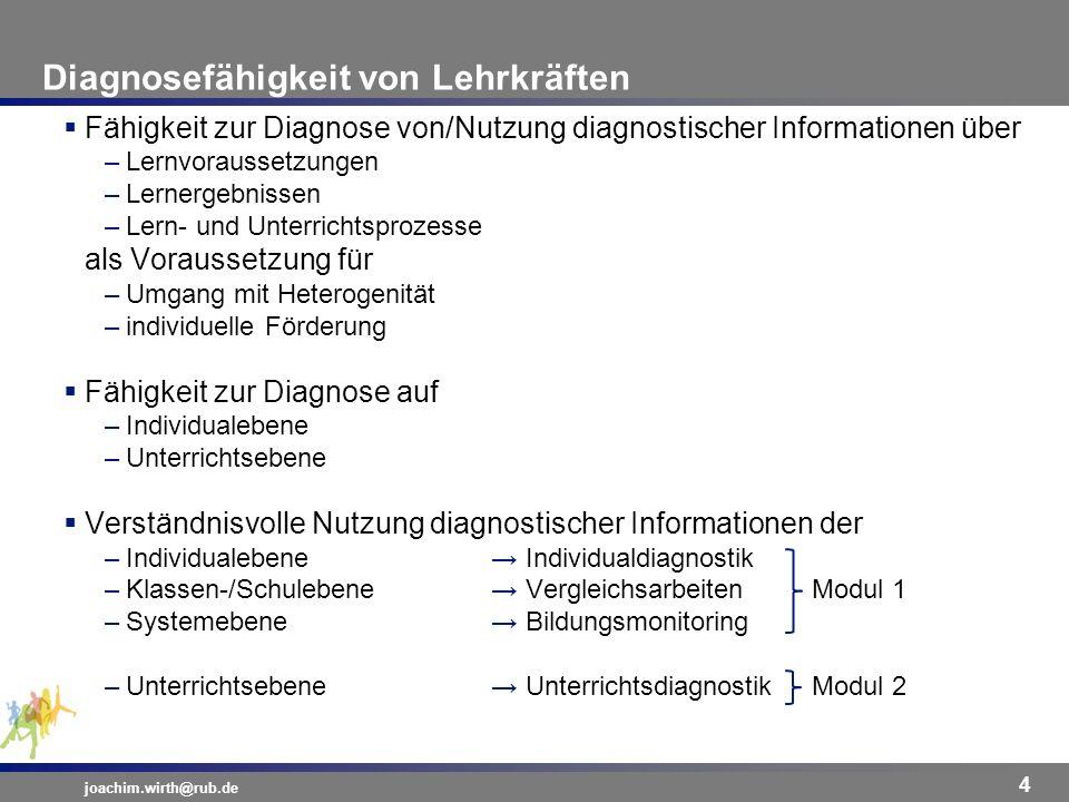 Diagnosefähigkeit von Lehrkräften joachim.wirth@rub.de 4 Fähigkeit zur Diagnose von/Nutzung diagnostischer Informationen über –Lernvoraussetzungen –Le