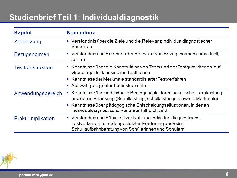 Studienbrief Teil 1: Individualdiagnostik joachim.wirth@rub.de 8 KapitelKompetenz Zielsetzung Verständnis über die Ziele und die Relevanz individualdi