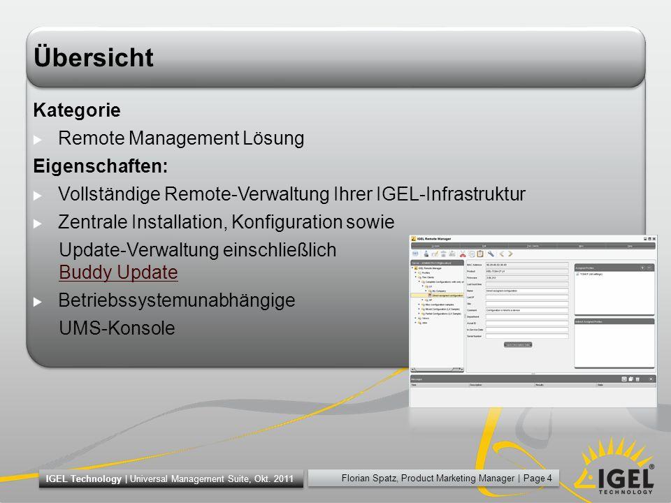 Florian Spatz, Product Marketing Manager | Page 15 IGEL Technology | Universal Management Suite, Okt.