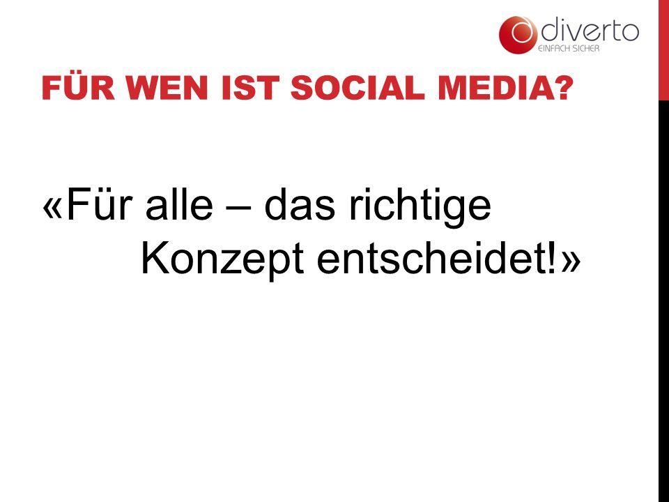 FÜR WEN IST SOCIAL MEDIA? «Für alle – das richtige Konzept entscheidet!»
