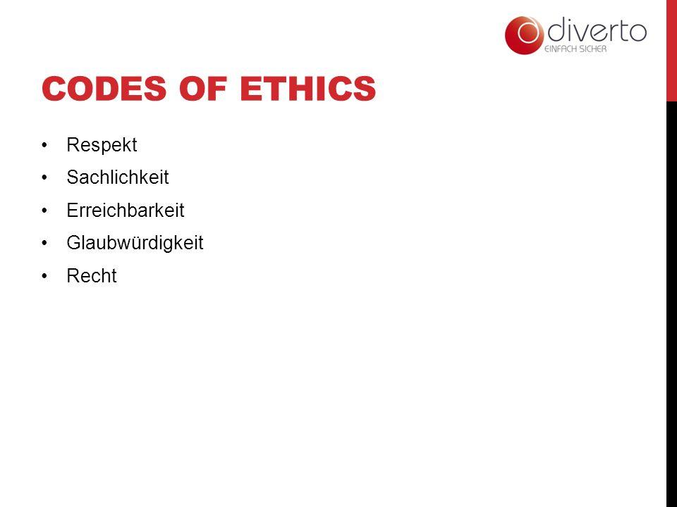 CODES OF ETHICS Respekt Sachlichkeit Erreichbarkeit Glaubwürdigkeit Recht