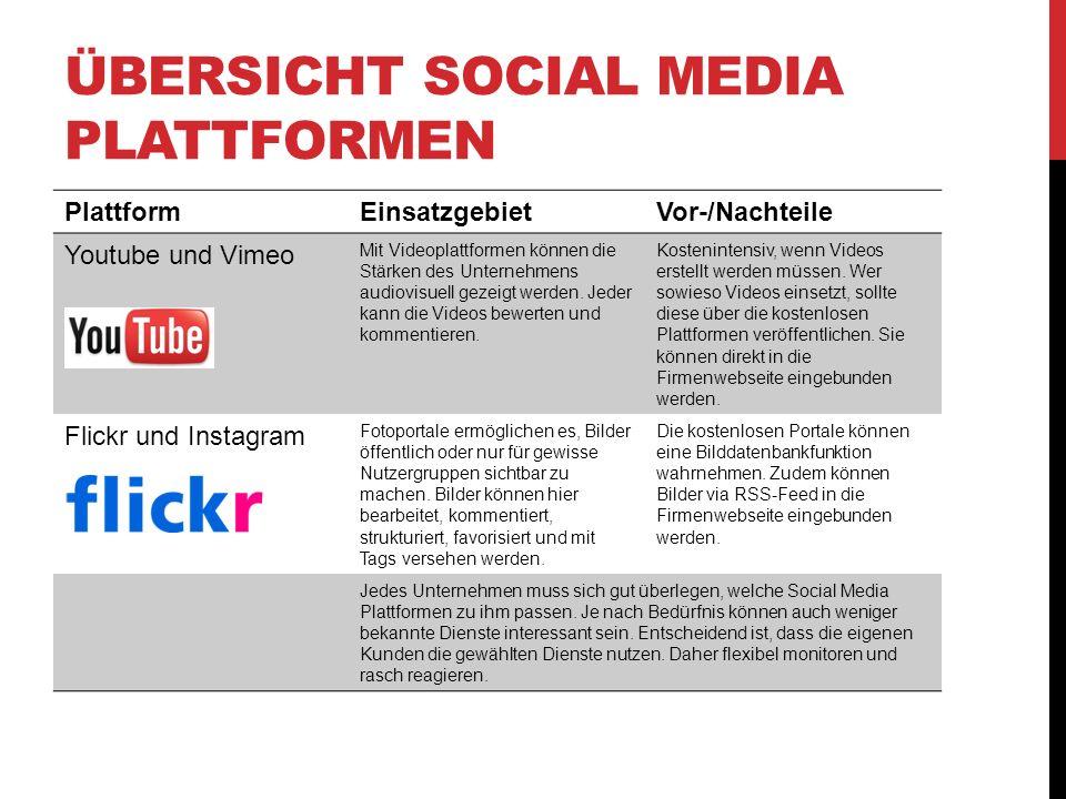 ÜBERSICHT SOCIAL MEDIA PLATTFORMEN PlattformEinsatzgebietVor-/Nachteile Youtube und Vimeo Mit Videoplattformen können die Stärken des Unternehmens audiovisuell gezeigt werden.