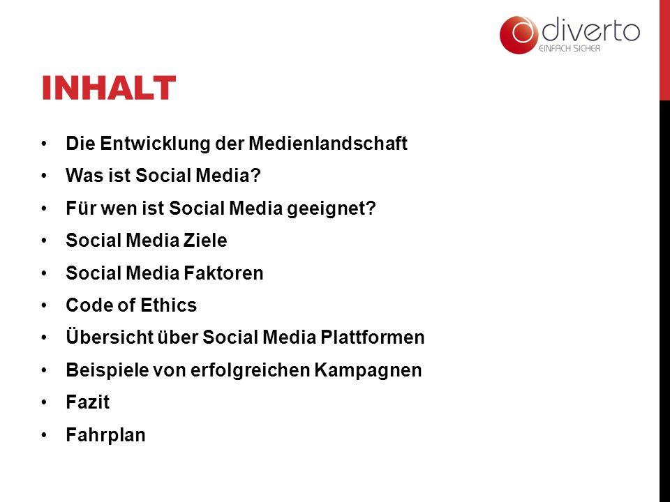 INHALT Die Entwicklung der Medienlandschaft Was ist Social Media? Für wen ist Social Media geeignet? Social Media Ziele Social Media Faktoren Code of