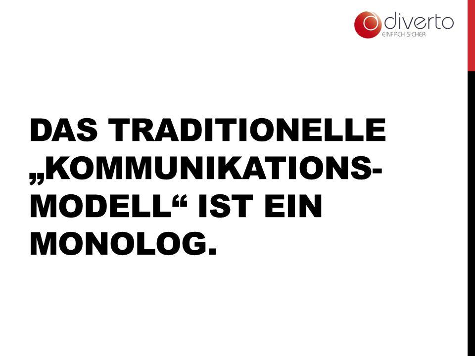 DAS TRADITIONELLE KOMMUNIKATIONS- MODELL IST EIN MONOLOG.