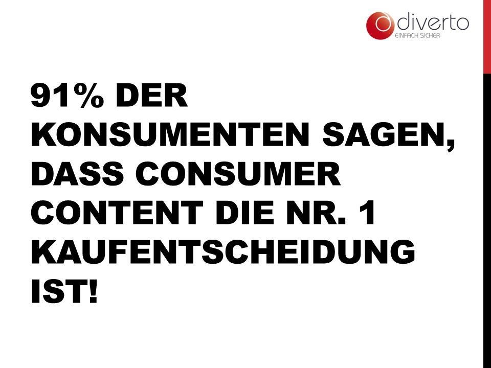91% DER KONSUMENTEN SAGEN, DASS CONSUMER CONTENT DIE NR. 1 KAUFENTSCHEIDUNG IST!