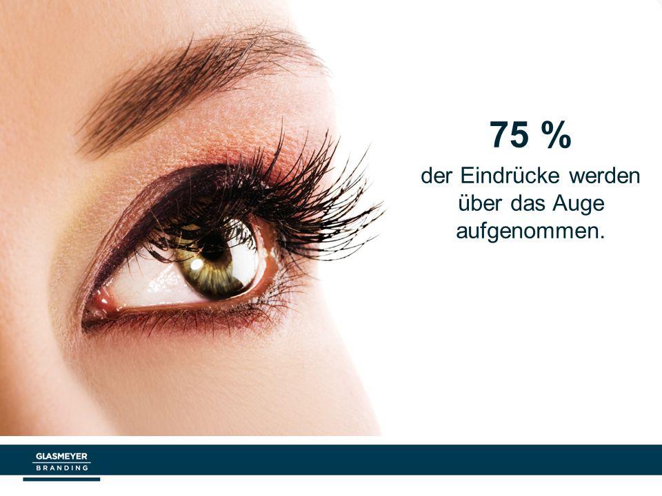 75 % der Eindrücke werden über das Auge aufgenommen.