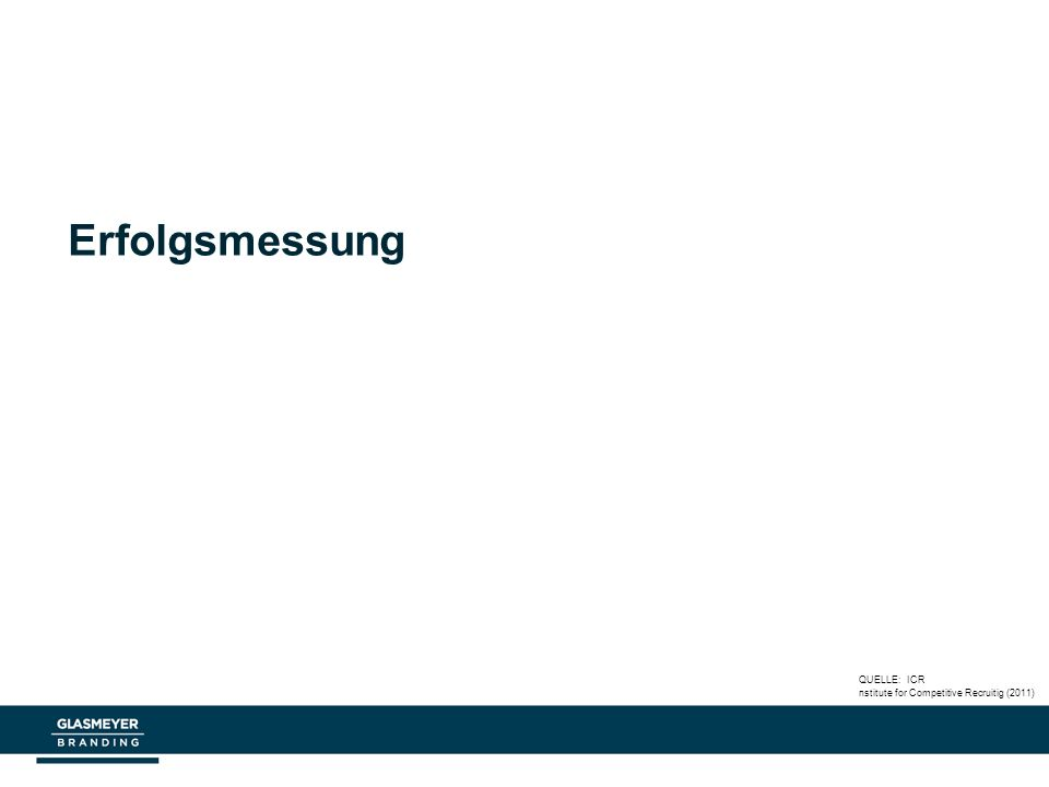 Erfolgsmessung QUELLE: ICR nstitute for Competitive Recruitig (2011)