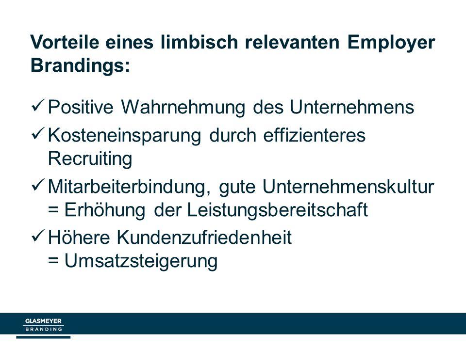 Vorteile eines limbisch relevanten Employer Brandings: Positive Wahrnehmung des Unternehmens Kosteneinsparung durch effizienteres Recruiting Mitarbeit