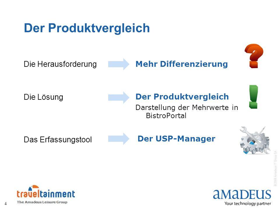 © 2008 Amadeus IT Group SA Der Produktvergleich 4 Die Herausforderung Die Lösung Das Erfassungstool Mehr Differenzierung Der Produktvergleich Darstell
