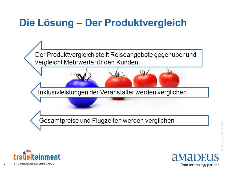 © 2008 Amadeus IT Group SA Die Lösung – Der Produktvergleich 5 Der Produktvergleich stellt Reiseangebote gegenüber und vergleicht Mehrwerte für den Ku