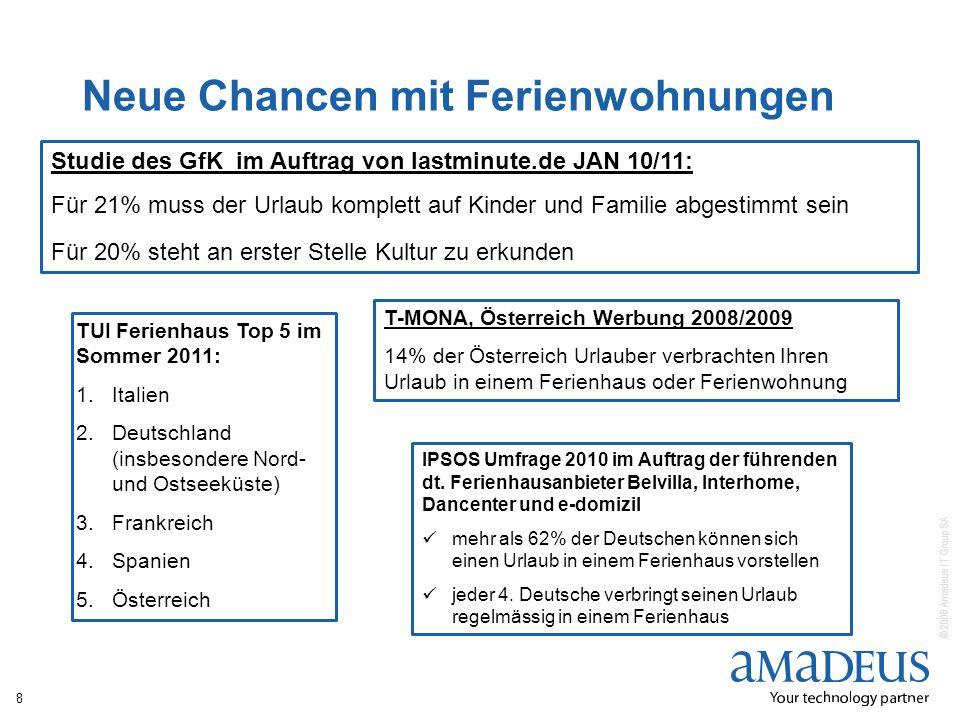 © 2008 Amadeus IT Group SA Neue Chancen mit Ferienwohnungen 8 TUI Ferienhaus Top 5 im Sommer 2011: 1.Italien 2.Deutschland (insbesondere Nord- und Ost