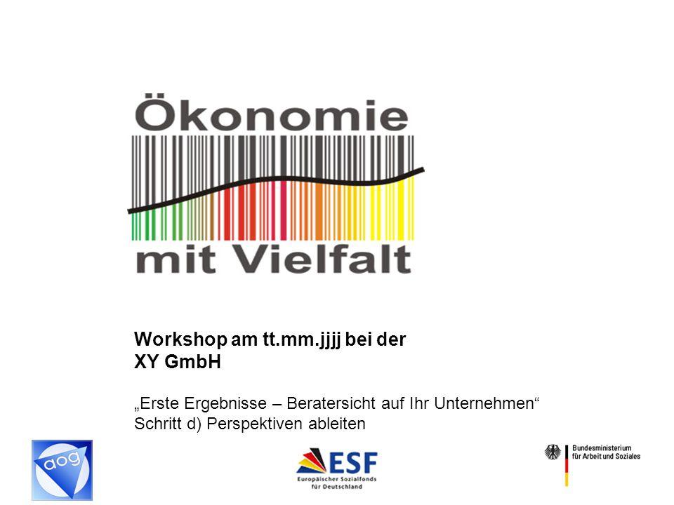 1 Workshop am tt.mm.jjjj bei der XY GmbH Erste Ergebnisse – Beratersicht auf Ihr Unternehmen Schritt d) Perspektiven ableiten