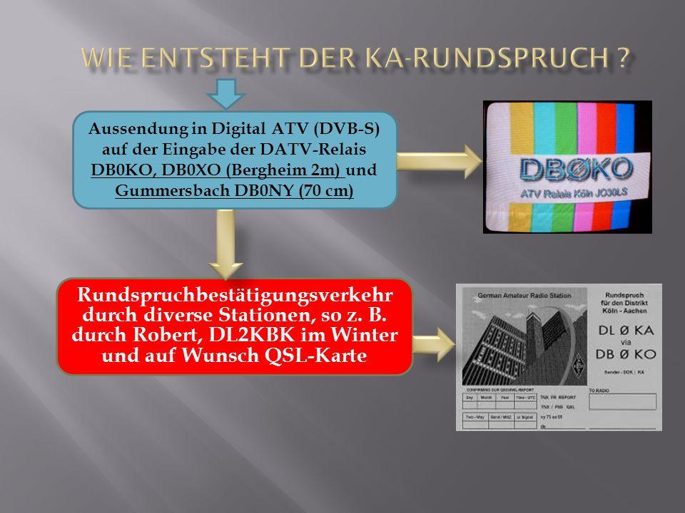 Rundspruchbestätigungsverkehr durch diverse Stationen, so z. B. durch Robert, DL2KBK im Winter und auf Wunsch QSL-Karte Aussendung in Digital ATV (DVB