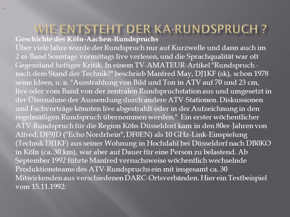 Geschichte des Köln-Aachen-Rundspruchs Über viele Jahre wurde der Rundspruch nur auf Kurzwelle und dann auch im 2 m-Band Sonntags vormittags live verl
