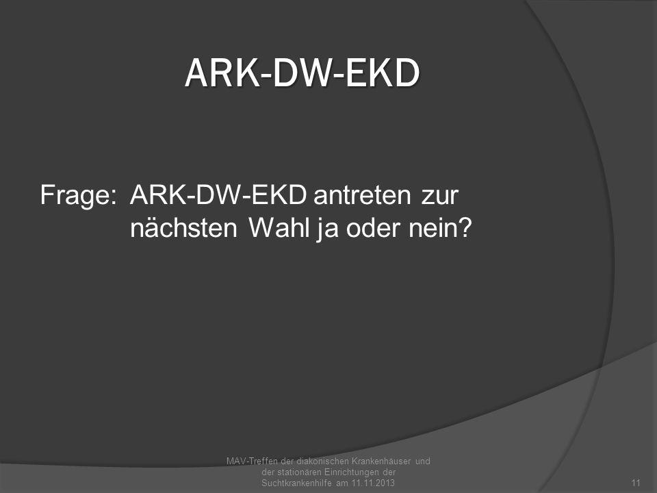 ARK-DW-EKD Frage: ARK-DW-EKD antreten zur nächsten Wahl ja oder nein? MAV-Treffen der diakonischen Krankenhäuser und der stationären Einrichtungen der