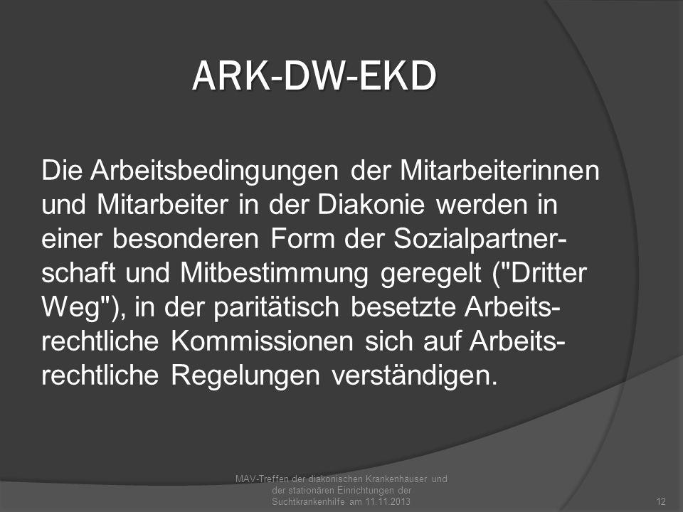 ARK-DW-EKD Die Arbeitsbedingungen der Mitarbeiterinnen und Mitarbeiter in der Diakonie werden in einer besonderen Form der Sozialpartner- schaft und M