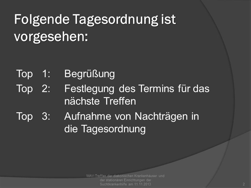 Folgende Tagesordnung ist vorgesehen: Top 1:Begrüßung Top 2:Festlegung des Termins für das nächste Treffen Top 3:Aufnahme von Nachträgen in die Tageso