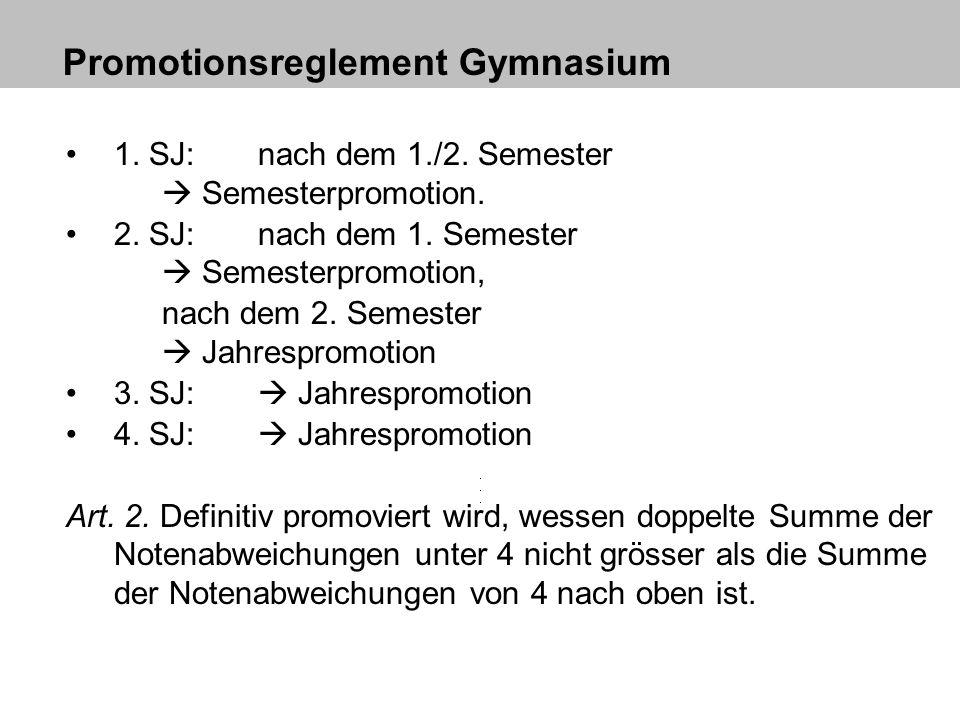 Promotionsreglement Gymnasium 1. SJ: nach dem 1./2. Semester Semesterpromotion. 2. SJ: nach dem 1. Semester Semesterpromotion, nach dem 2. Semester Ja