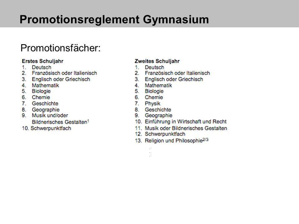 Promotionsreglement Gymnasium Promotionsfächer: