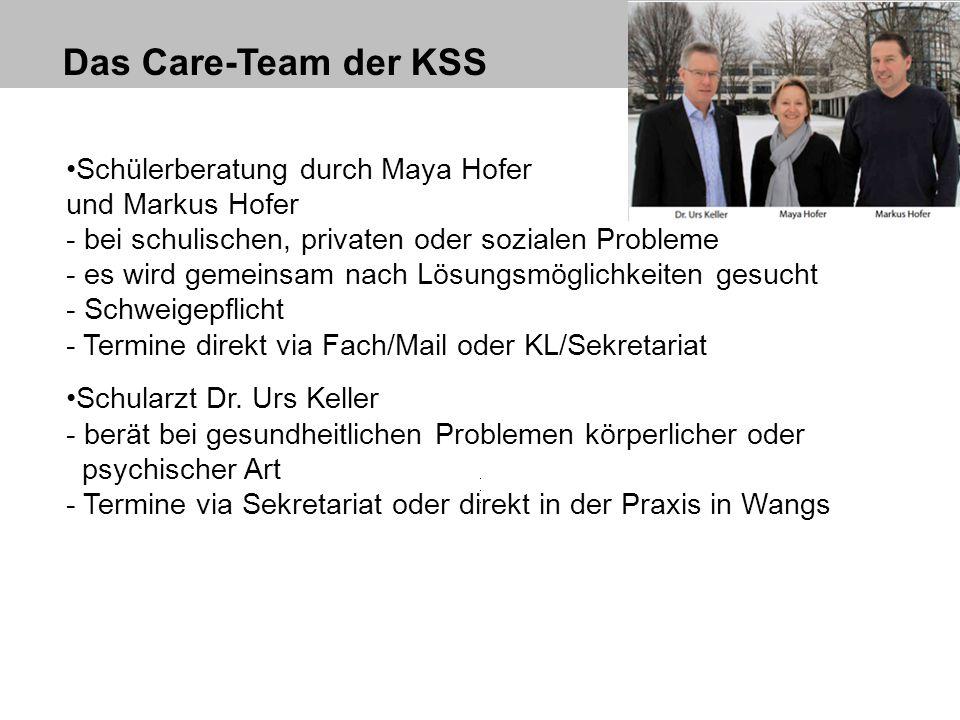 Das Care-Team der KSS Schülerberatung durch Maya Hofer und Markus Hofer - bei schulischen, privaten oder sozialen Probleme - es wird gemeinsam nach Lö