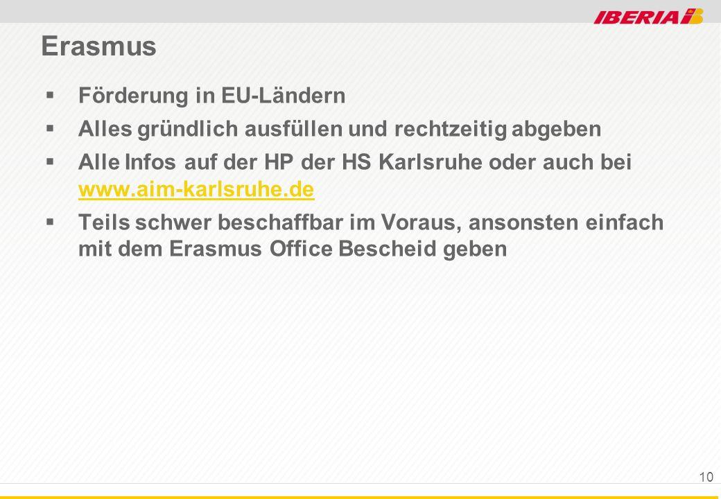 Erasmus Förderung in EU-Ländern Alles gründlich ausfüllen und rechtzeitig abgeben Alle Infos auf der HP der HS Karlsruhe oder auch bei www.aim-karlsru