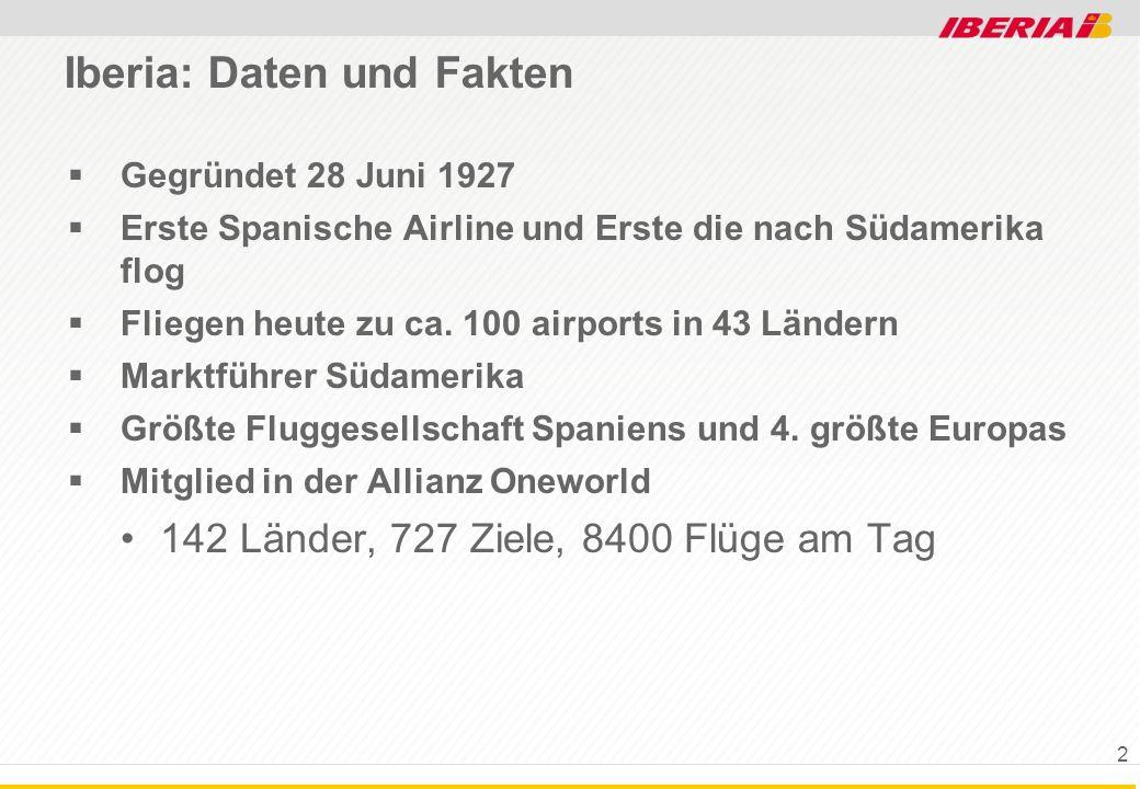 Iberia: Daten und Fakten Gegründet 28 Juni 1927 Erste Spanische Airline und Erste die nach Südamerika flog Fliegen heute zu ca. 100 airports in 43 Län