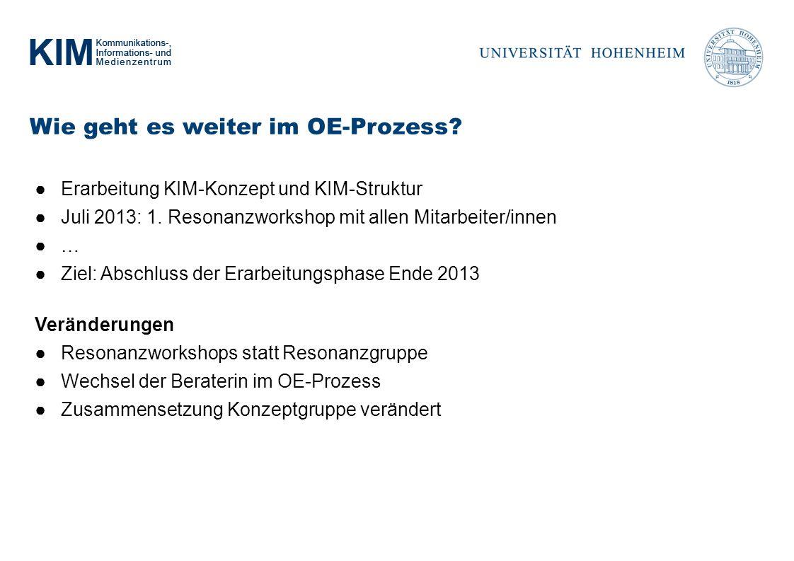 Wie geht es weiter im OE-Prozess.Erarbeitung KIM-Konzept und KIM-Struktur Juli 2013: 1.