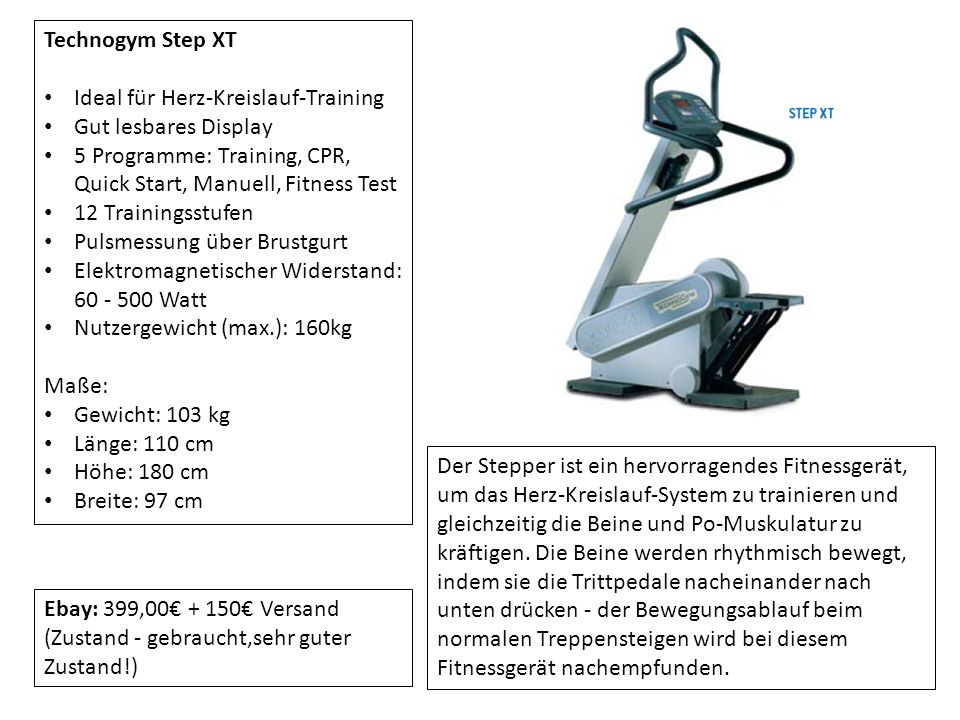 Technogym Step XT Ideal für Herz-Kreislauf-Training Gut lesbares Display 5 Programme: Training, CPR, Quick Start, Manuell, Fitness Test 12 Trainingsst