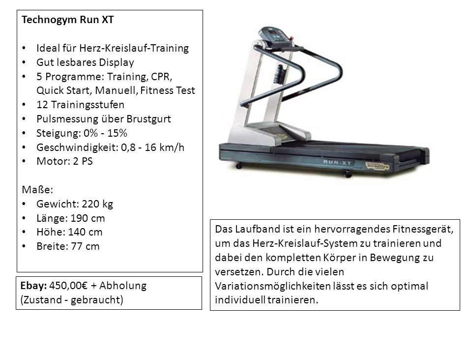 Technogym Run XT Ideal für Herz-Kreislauf-Training Gut lesbares Display 5 Programme: Training, CPR, Quick Start, Manuell, Fitness Test 12 Trainingsstu