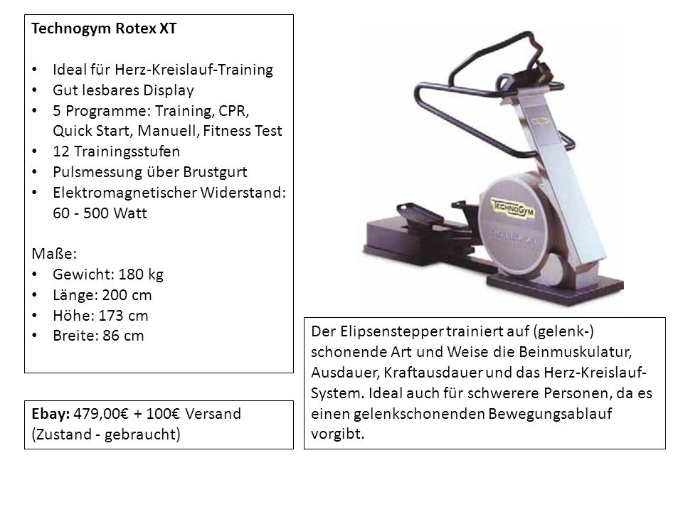 Technogym Rotex XT Ideal für Herz-Kreislauf-Training Gut lesbares Display 5 Programme: Training, CPR, Quick Start, Manuell, Fitness Test 12 Trainingss