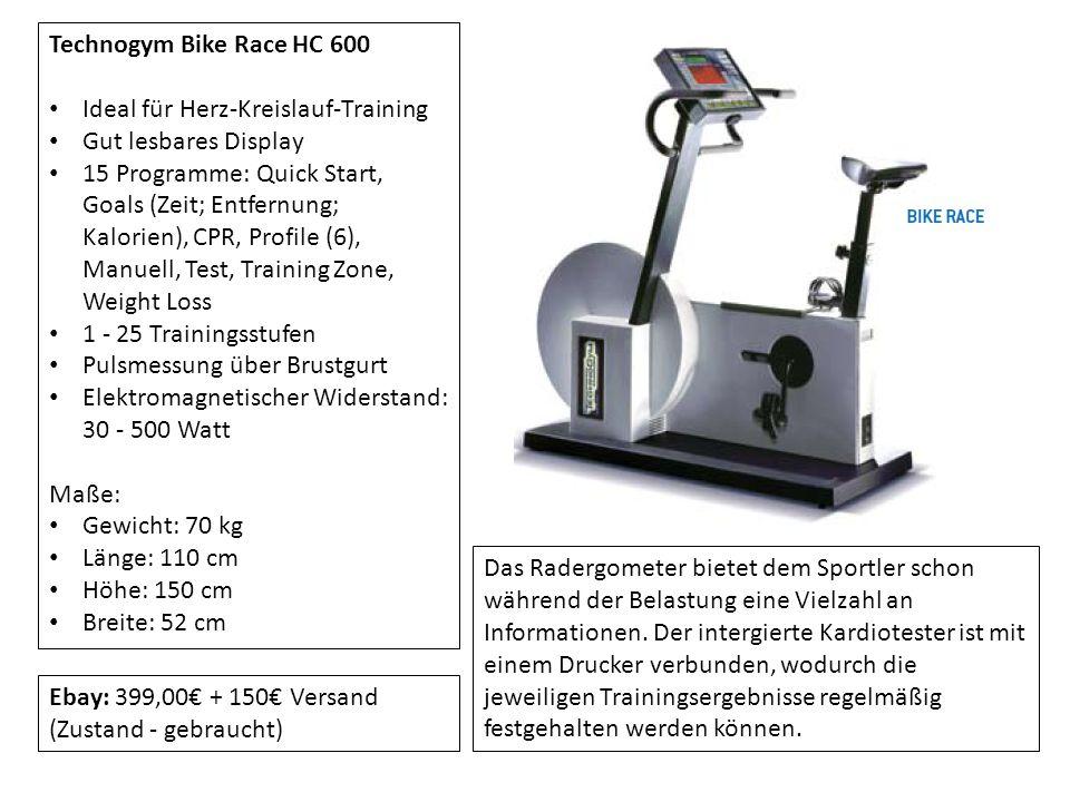 Technogym Bike Race HC 600 Ideal für Herz-Kreislauf-Training Gut lesbares Display 15 Programme: Quick Start, Goals (Zeit; Entfernung; Kalorien), CPR,