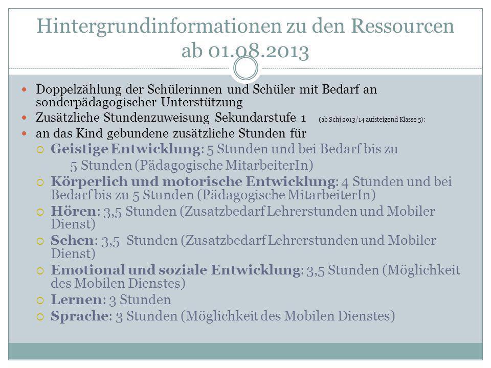 Hintergrundinformationen zu den Ressourcen ab 01.08.2013 Doppelzählung der Schülerinnen und Schüler mit Bedarf an sonderpädagogischer Unterstützung Zu