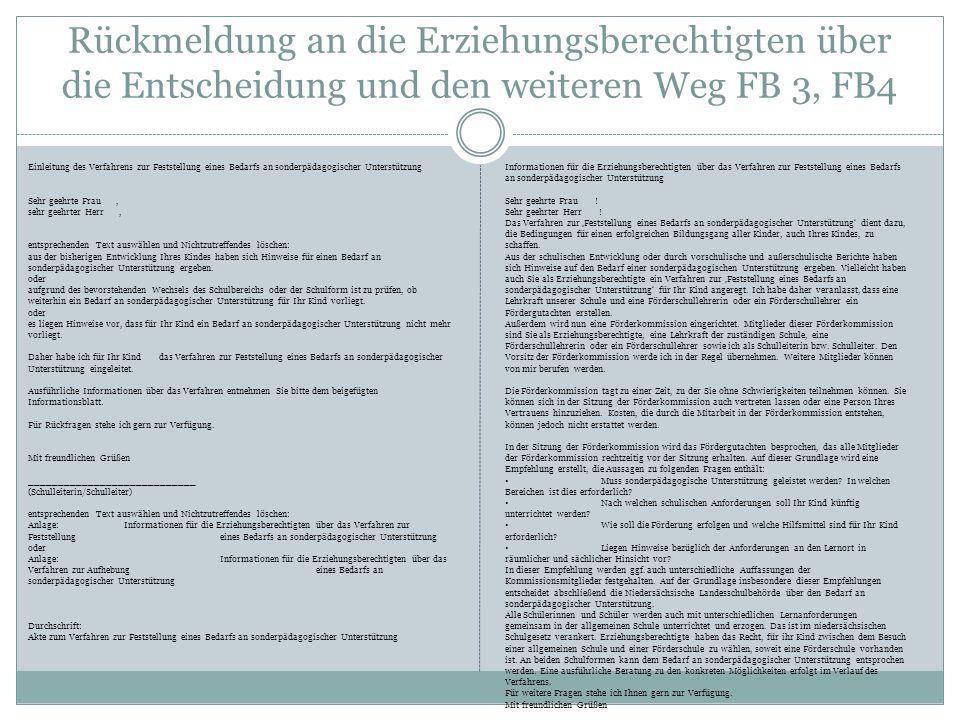 Rückmeldung an die Erziehungsberechtigten über die Entscheidung und den weiteren Weg FB 3, FB4 Einleitung des Verfahrens zur Feststellung eines Bedarf