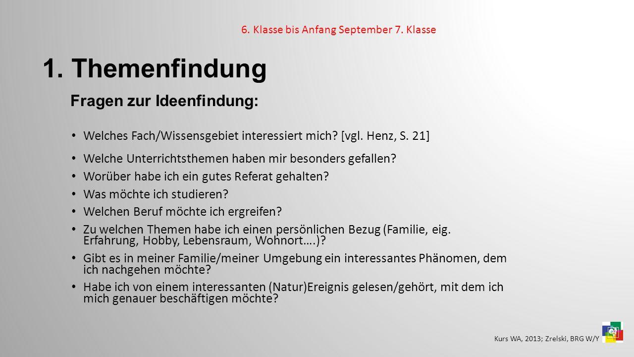 1. Themenfindung Fragen zur Ideenfindung: Welches Fach/Wissensgebiet interessiert mich? [vgl. Henz, S. 21] Welche Unterrichtsthemen haben mir besonder
