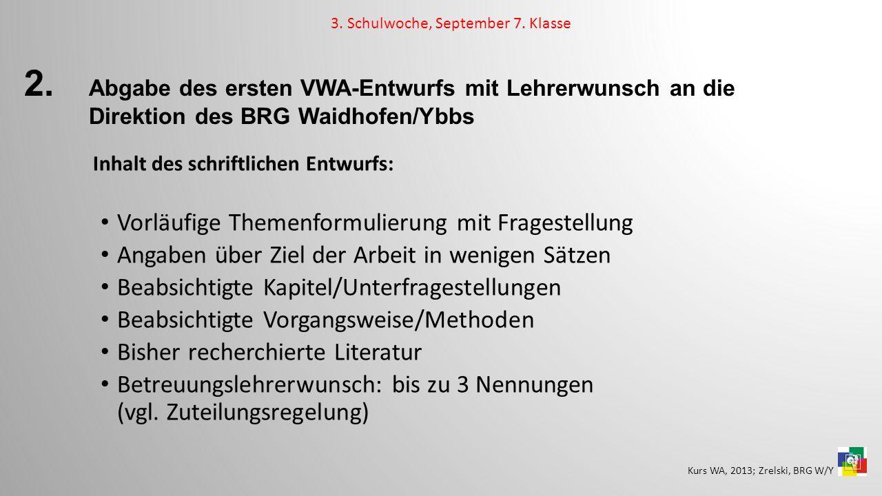2. Abgabe des ersten VWA-Entwurfs mit Lehrerwunsch an die Direktion des BRG Waidhofen/Ybbs Inhalt des schriftlichen Entwurfs: Vorläufige Themenformuli