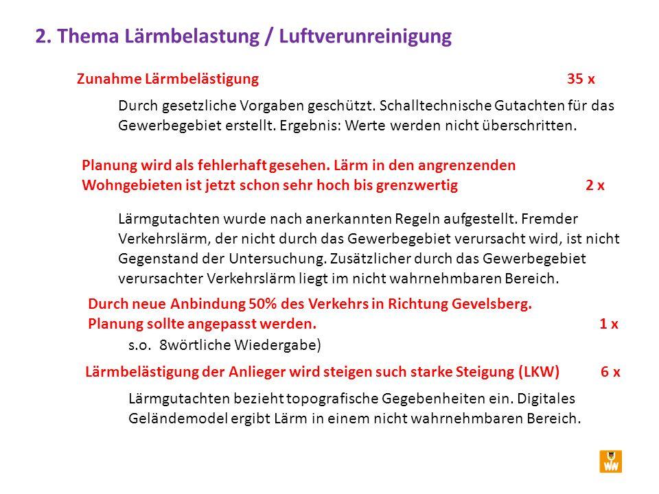 2. Thema Lärmbelastung / Luftverunreinigung Zunahme Lärmbelästigung 35 x Durch gesetzliche Vorgaben geschützt. Schalltechnische Gutachten für das Gewe