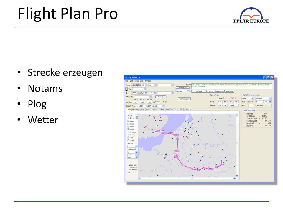 Flight Plan Pro Strecke erzeugen Notams Plog Wetter