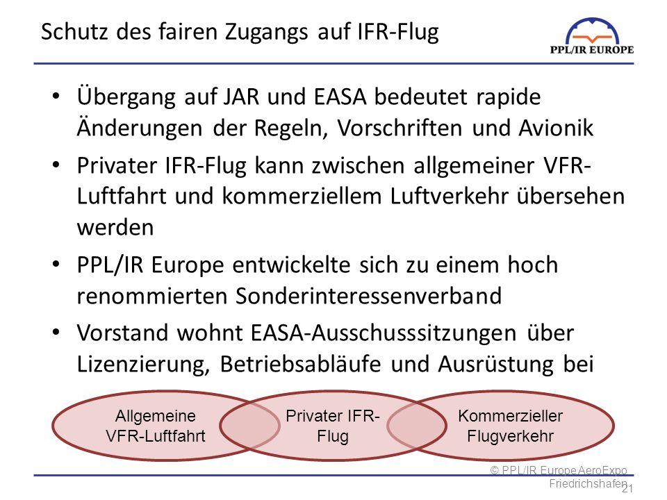 © PPL/IR Europe AeroExpo Friedrichshafen Schutz des fairen Zugangs auf IFR-Flug Übergang auf JAR und EASA bedeutet rapide Änderungen der Regeln, Vorschriften und Avionik Privater IFR-Flug kann zwischen allgemeiner VFR- Luftfahrt und kommerziellem Luftverkehr übersehen werden PPL/IR Europe entwickelte sich zu einem hoch renommierten Sonderinteressenverband Vorstand wohnt EASA-Ausschusssitzungen über Lizenzierung, Betriebsabläufe und Ausrüstung bei Allgemeine VFR-Luftfahrt Privater IFR- Flug Kommerzieller Flugverkehr 21