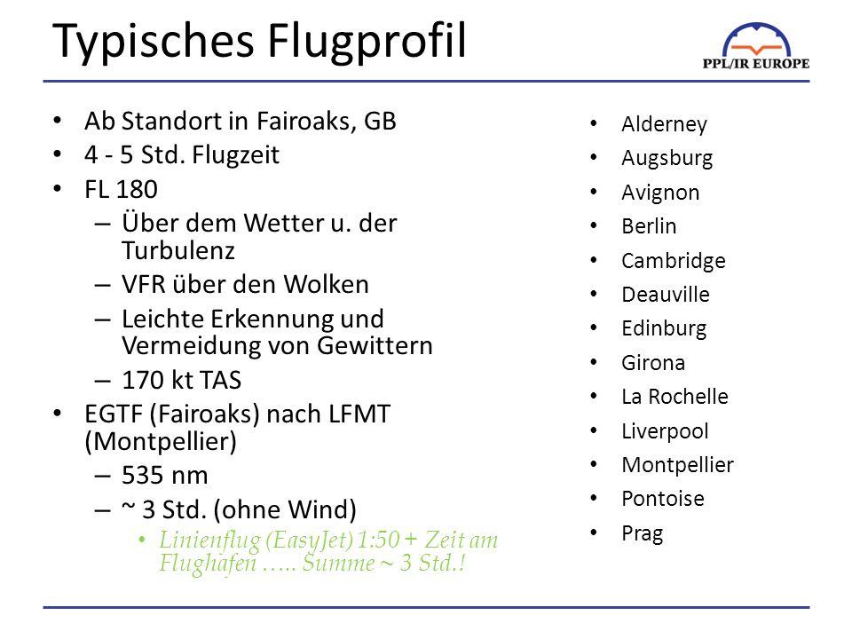 Typisches Flugprofil Ab Standort in Fairoaks, GB 4 - 5 Std.