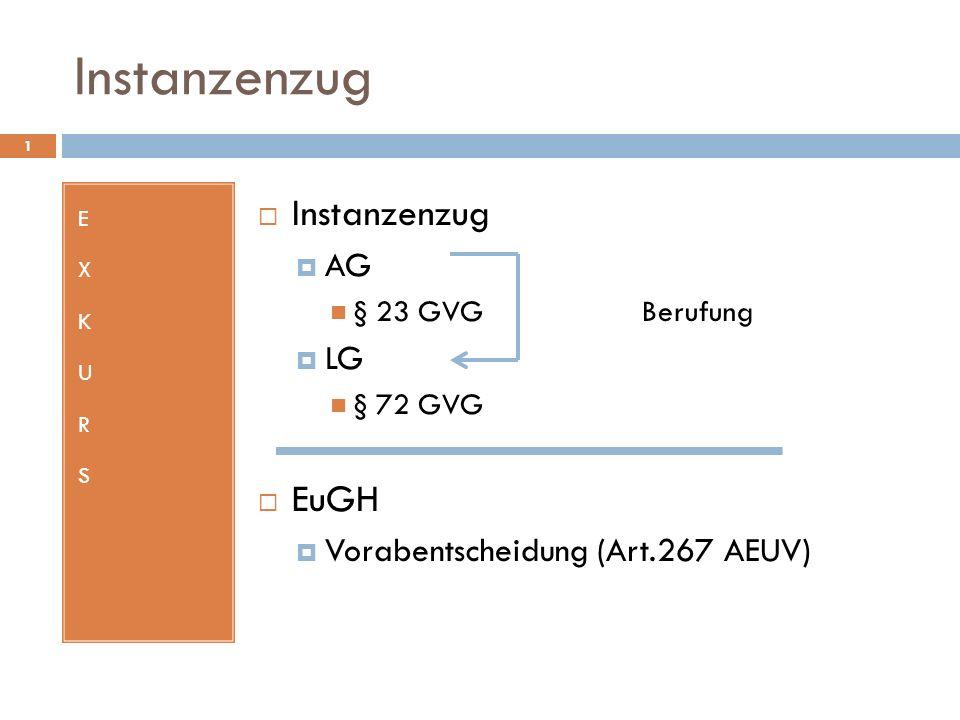 Instanzenzug 1 EXKURSEXKURS AG § 23 GVG Berufung LG § 72 GVG EuGH Vorabentscheidung (Art.267 AEUV)