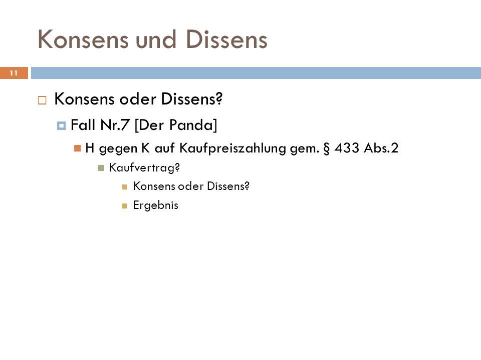 Konsens und Dissens 11 Konsens oder Dissens? Fall Nr.7 [Der Panda] H gegen K auf Kaufpreiszahlung gem. § 433 Abs.2 Kaufvertrag? Konsens oder Dissens?