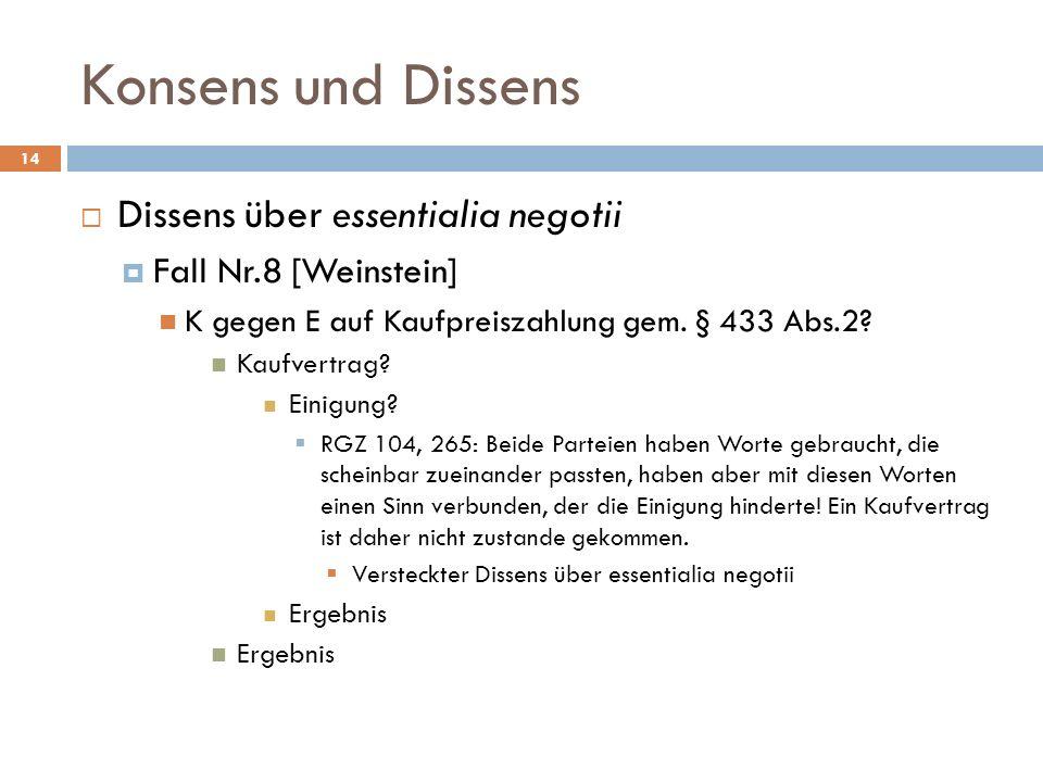 Konsens und Dissens 14 Dissens über essentialia negotii Fall Nr.8 [Weinstein] K gegen E auf Kaufpreiszahlung gem. § 433 Abs.2? Kaufvertrag? Einigung?