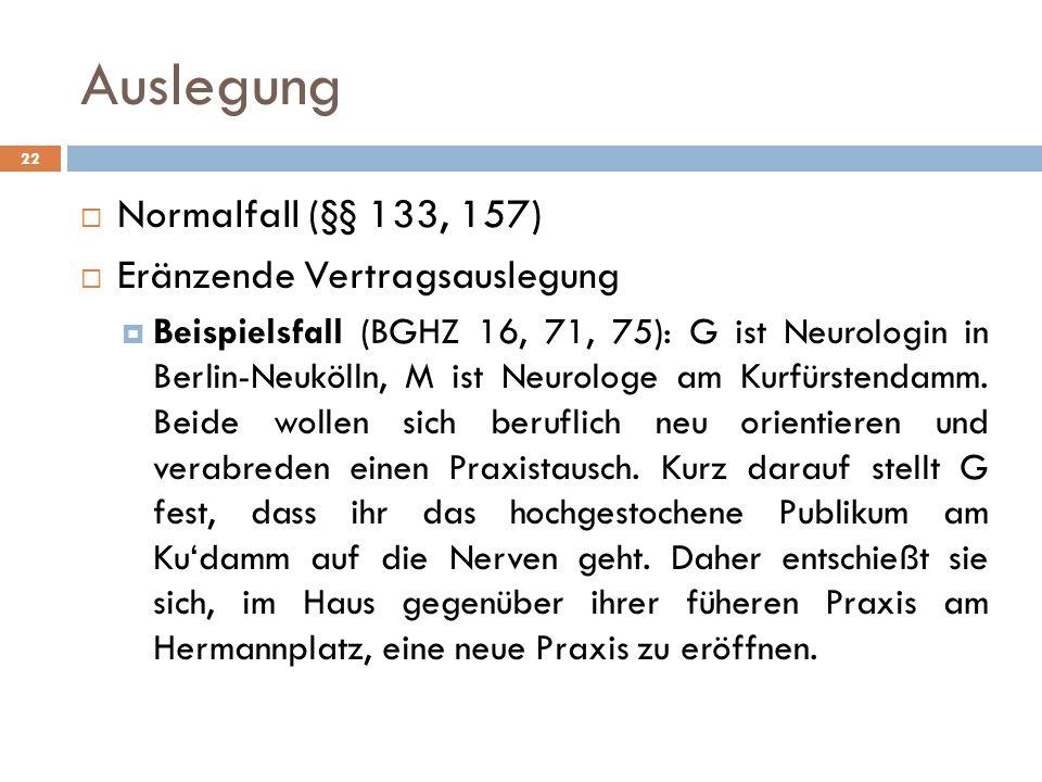 Auslegung 22 Normalfall (§§ 133, 157) Eränzende Vertragsauslegung Beispielsfall (BGHZ 16, 71, 75): G ist Neurologin in Berlin-Neukölln, M ist Neurolog