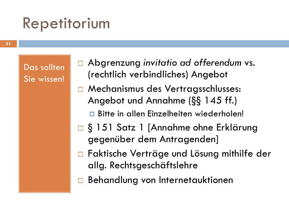 Repetitorium 31 Das sollten Sie wissen! Abgrenzung invitatio ad offerendum vs. (rechtlich verbindliches) Angebot Mechanismus des Vertragsschlusses: An