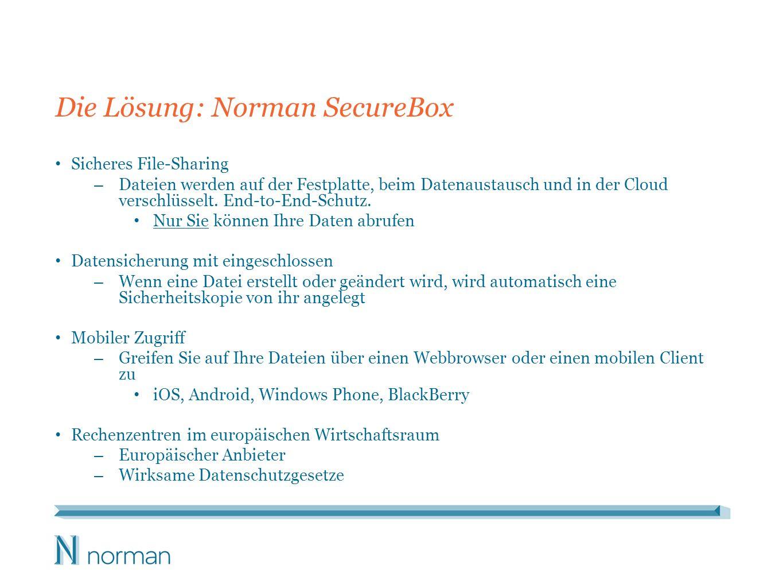 Die Lösung: Norman SecureBox Sicheres File-Sharing – Dateien werden auf der Festplatte, beim Datenaustausch und in der Cloud verschlüsselt.